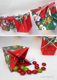 origami - bolsitas plegadas en papel para Navidad