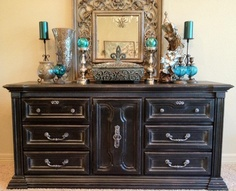 Smoky Black Dresser/Buffet/Media Console   Quality Construction by Bassett  Refinished in Satin Black with Silver Antiquing, lightly distressed  Original hardware refinished in silver with black antiquing