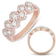 14K rose gold with diamonds set in double row halo style