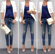 rolled up sleeves, shirt tucked in, skinny jeans and pointed heels.