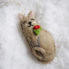 Felt Boy Cat Ornament | west elm