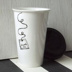 "Hand Painted Alice in Wonderland ""Drink Me"" Porcelain Travel Mug with WHITE Silicone Lid Eco Friendly (( the original ))"