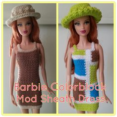 Crochet Toy Barbie Clothes This hub is a free crochet pattern for a Barbie Colorblock Mod Sheath Dress. - This hub is a free crochet pattern for a Barbie Colorblock Mod Sheath Dress. Crochet Barbie Patterns, Barbie Clothes Patterns, Crochet Barbie Clothes, Doll Clothes Barbie, Crochet Doll Pattern, Crochet Dolls, Dress Patterns, Barbie Dolls, Doll Patterns
