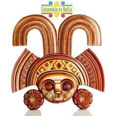 Arte precolombino Mascara tallada a mano en madera de Ceiba y ...