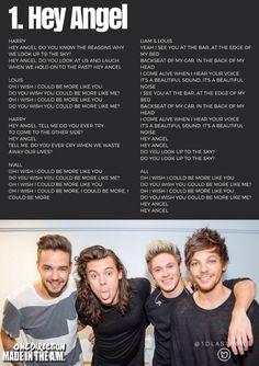 One Direction - Hey Angel Lyrics One Direction Music, One Direction Quotes, One Direction Imagines, One Direction Harry, One Direction Pictures, Angels Lyrics, Music Lyrics, 5sos Lyrics, Best Song Ever