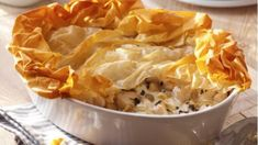 Chicken and leek pie with filo