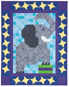 Playful elephant stands tall on adorable pieced crib quilt. Peanut PatchJuly/Aug 12  Buy this issue(print) Buy this digital issue Buy the kit (includes the pattern)    Reader Rendition: Peanut Patch made by Susan Courtney of Leesburg, Virginia. Susan made this quilt for her daughter who loves the circus! Great color and fabrics for a whimsical Elephant!