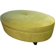 Oval Ottoman in Jive Kiwi Fabric | Pure Home #retro #green