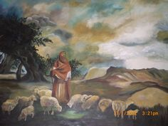 Pintura tela Pastor com ovelhas de Alacir Balbi