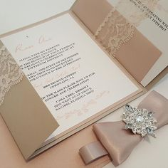 Stunning Lace Jewel Invite in Sand / Blush l  Glamorous lace