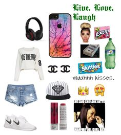 """Muahhhh Kisses"" by trellashia ❤ liked on Polyvore featuring beleza, H&M, NIKE, Diamond Supply Co., Korres, CellPowerCases e Beats by Dr. Dre"
