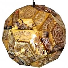 The Tom Dixon Punch Ball Pendant Light is made up of squares of stamped metal which are rivited together. The finished product is a pendant light that demands attention, and creates a stunning feature in any room of the home. Led Chandelier, Pendant Lighting, Pendant Lamps, Mid Century Lighting, Gold Light, Ball Lights, Tom Dixon, Lighting Solutions, Light Fittings