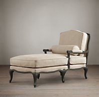 Classic French Louis XV design meets lavish comfort in a chaise that's meant for lounging. Evoking the classic bergère, we've upholstered it in Belgian linen and given the exposed oak frame a soft, drifted finish