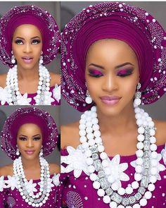 Magenta cuteness #Asoebispecial #Asoebi #speciallovers Beads @tavinbeads Asooke @jenrewa Glam @kujussignature