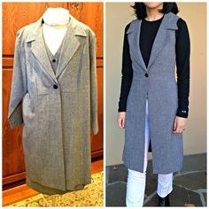 Add a touch of menswear to any outfit by refashioning an enormous suit into a sleeveless coat. This tutorial shows you how to make this project in 2 hours. Ärmelloser Mantel, Diy Clothes Refashion, Refashioned Clothing, Sleeveless Coat, Blanket Coat, Diy Clothes Videos, Suit Vest, How To Make Clothes, Long Jackets