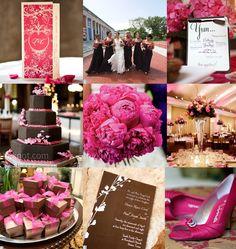 Magenta pink and brown wedding inspiration board