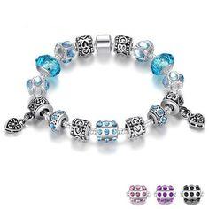 European Style Silver Crystal Charm Bracelet