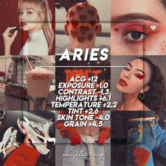 ARIES --- Finally, it's out Aries' babes turn!😈 This filter was inspired by the fierceness of Aries plus a little vintage film effect using… Vsco Photography, Photography Filters, Photography Editing, Aries Aesthetic, Vsco Effects, Best Vsco Filters, Vsco Themes, Photo Editing Vsco, Vsco Presets