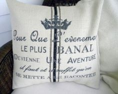 French Script  Decorative Throw Pillow Cover  by decorate23, $45.00