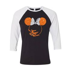 Disney Halloween Minnie Mouse Bats 3/4 sleeve raglan black