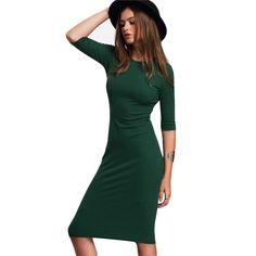 Green Crew Neck Half Sleeve Midi Bodycon Dress