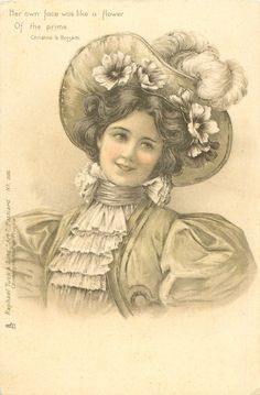 woman in hat trimmed with ostrich feathers  flowers faces partly left, looks up to the right