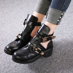 Only 3 Days Left Women's Black Round Toe Metal Buckle Ankle Chunky Heel Boots Low Heels, Shoes Heels, Ankle Boots, Skirts With Boots, Sexy Boots, Chunky Heels, Girls Shoes, Me Too Shoes, Black Shoes