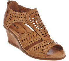 967c5974a1a Earth Leather Wedge Sandals with Perforated Details - Crown