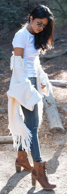 #winter #fashion /  White Frindge Coat + Camel Leather Booties