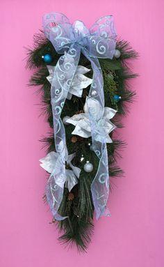 Wintry Silver Poinsettia Teardrop Door Hanger by AHolidayShoppe