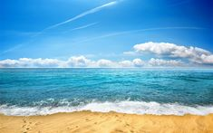Download wallpapers sea landscape, waves, beach, sand, clouds