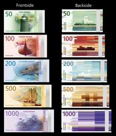 New norwegian krone design (bills available from / norway :: money :: countries Norway News, Norway Design, Money Template, Money Notes, Glitch Art, Pattern Images, Graphic Design Print, Pixel, Grafik Design