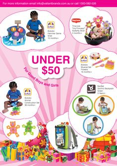 GIFT IDEAS UNDER $50 toys for newborns to 12 months to 18 months to 8 years+. to find out where to buy our gift ideas, email info@valiantbrands.com.au Newborn Toys, Newborns, Month Flowers, Childrens Gifts, Inspirational Gifts, 18 Months, First Birthdays, Boy Or Girl, How To Find Out