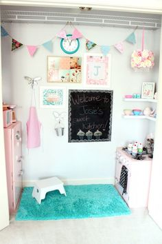 Play Kitchen in the Closet designed by Carmel on Our Fifth House! What a genius idea! Little girls love playing house/ kitchen! What a great way to repurpose a closet!