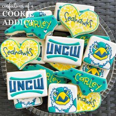 Congrats to Carly as she heads to UNCW! #goseahawks #acookieaddict Cookies, Desserts, Food, Tailgate Desserts, Biscuits, Deserts, Essen, Dessert, Cookie Recipes