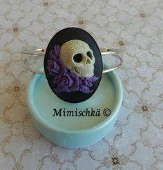 Bracelet camée sugar skull tête de mort crâne mexicain roses violettes : Bracelet par mimischka