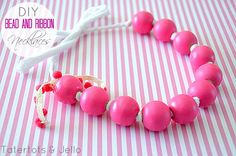 Stained Wood Bead Necklace Tutorial! Such a fun summer craft with older kids! -- Tatertots and Jello
