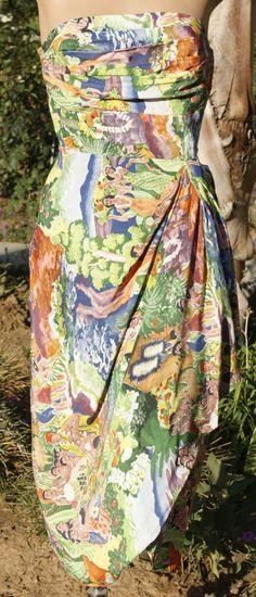 Vintage Hawaiian Kamehameha Rayon Dress Eugene Savage Print Collectible Rare #Kamehameha
