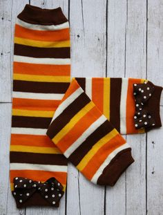 Fall Stripe Leg Warmers with  bows by hotwheelsfairytales on Etsy, $8.00