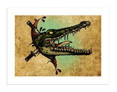 Crocodile - The Beasts Within Series, Neo-Traditional Tattoo Flash, Old School, Art Print Traditional Tattoo Reference, Traditional Tattoo Flash, Dad Tattoos, Sleeve Tattoos, Alligator Tattoo, American Traditional Sleeve, Crocodile Tattoo, Tattoo Tradicional, Tree Tat