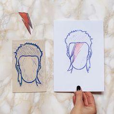 """""""Mi piace"""": 73, commenti: 7 - labLumière • Illustrator (@laboratoire_lumiere) su Instagram: """"Oggi è un anno senza te Starman ❤ #linocut #linocutprint #handmade #rubberstamp #linoblock…"""""""