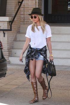 Ashley Tisdale wearing Celine Nano Luggage Mini Tote Bag, Saint Laurent Halston Strappy Gladiator Sandals and Rails Hunter Plaid Shirt in Noir/Ivory