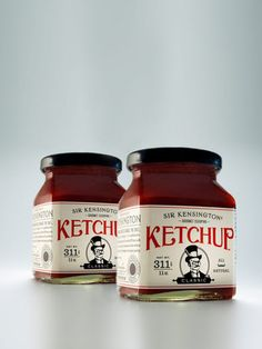 Fancy vintage label on gourmet ketchup. This makes me want fries!