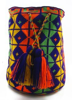 Purple, Green, Yellow and Orange Wayuu Mochila Bag