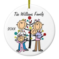 Shop Couple With Girl, Baby Boy, Dog Custom Ornament created by christmasshop. Penguin Ornaments, Holiday Ornaments, Christmas Holiday, Diy Ornaments, Christmas Presents, First Christmas Together Ornament, Babies First Christmas, Couple With Baby, Stick Figure Drawing