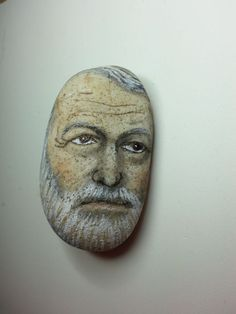 Original painting outsider Kaveman art Ernest Hemingway face rock stone…