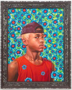 "Kehinde Wiley Studio -  Randerson Romualdo Cordeiro, 2008 Oil on canvas 48"" x 36"""