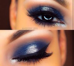 Love this navy blue and silver with brown in crease and highlight on brow bone