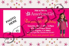 American Girl Birthday Invitations 4x6 / 5x7 by InvitationsbyUD, $9.00