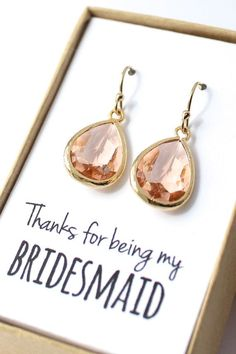 Peach+Champagne+Earrings++Peach+Bridesmaid+Earrings+by+ForTheMaids,+$24.00